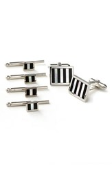 David Donahue Men's Inlaid Sterling Silver Cuff Link And Stud Set Mother Of Pearl Onyx