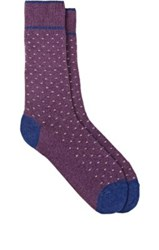 Barneys New York Men's Mini Zigzag Pattern Mid Calf Socks Purple Blue White Purple Blue White