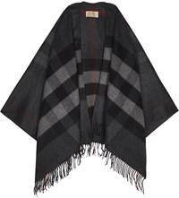 Burberry Collette Check Wool Cape Charcoal