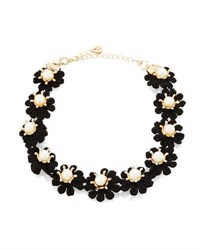 Lydell Nyc Black Flower And Simulated Pearl Choker Necklace White