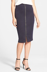Halogen Zip Front Stretch Knit Pencil Skirt Blue Black Blur Chevron