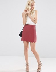 Asos A Line Mini Skirt With Scallop Hem Dusky Berry Purple