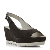 Gabor Blaize Cleated Sole Peep Toe Wedges Black