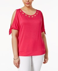 Belldini Plus Size Grommet Cold Shoulder Top Pomegranate Punch