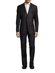 Versace Classic Fit Striped Two Button Wool Suit Dark Purple