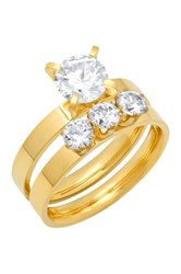 Simulated Diamond Engagement Ring And Wedding Band Set Metallic