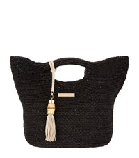 Heidi Klein Mini Grace Raffia Bucket Bag Black