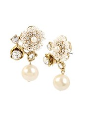 Miriam Haskell Vintage Pearl Floral Crystal And Faux Pearl Drop Earrings White