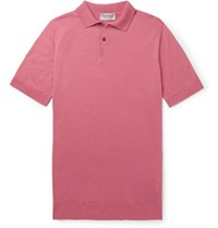 John Smedley Payton Slim Fit Wool Polo Shirt Pink