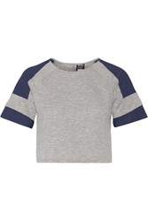 Athletic Propulsion Labs Cropped Mesh Paneled Melange Cotton Blend Jersey Top Gray
