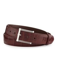 W.Kleinberg Matte Alligator Belt With 'The Chair' Buckle Burgundy Made To Order Red