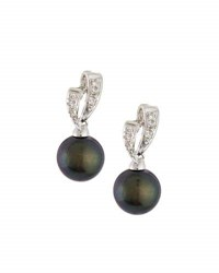 Belpearl 14K Black Freshwater Pearl And Diamond Earrings