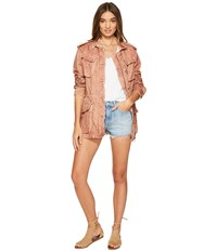 Free People Double Cloth Military Jacket Rose Women's Coat Pink