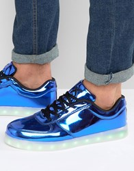 Wize And Ope Led Metallic Low Trainers Blue