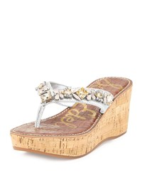 Sam Edelman Randi Jeweled Wedge Thong Sandal Soft Silver