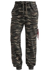 Alpha Industries X Fit Tracksuit Bottoms Woodl Camo Mottled Green