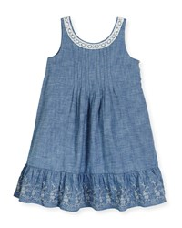 Ralph Lauren Sleeveless Lace Trim Chambray Sundress Blue
