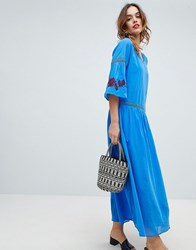Sisley Embroidered Flower Maxi Dress Blue