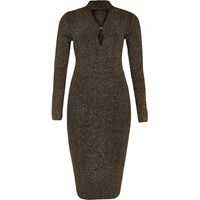 River Island Womens Black Sparkly Knit Keyhole Turtleneck Dress