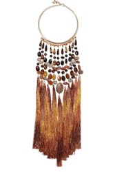 Rosantica Rum Tasseled Gold Tone Beaded Necklace Brown