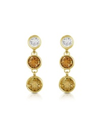 A Z Collection Three Tone Drop Earrings Gold
