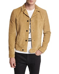 Saint Laurent Button Down Suede Jacket Tan