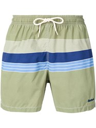 Barbour Striped Swimming Shorts Green
