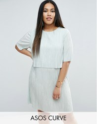 Asos Curve Double Layer T Shirt Dress In Plisse Mint Green