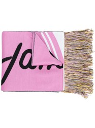 Msgm Fringed Scarf Pink And Purple