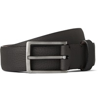 Lanvin 3Cm Charcoal Textured Leather Belt Gray