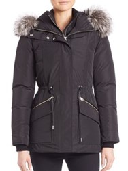 Mackage Fox Fur Trim Down Jacket Black