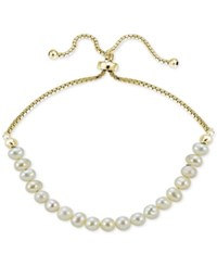 Giani Bernini 18K Gold Plated Sterling Silver Fresh Water Pearl Adjustable Bracelet Only At Macy's