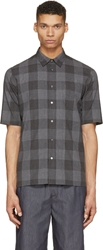 Robert Geller Grey Check Short Sleeve Shirt