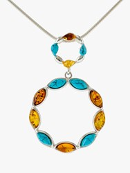 Be Jewelled Turquoise And Amber Circle Pendant Necklace Silver Multi