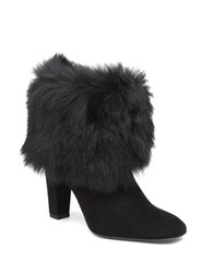 Delman Fur Ankle Boots Black