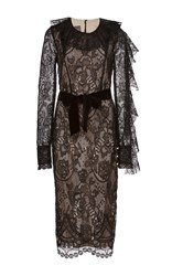 Monique Lhuillier Lace Long Sleeve Pencil Dress Black
