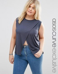 Asos Curve Sleeveless Top With Wrap Front Charcoal Grey