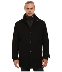 Marc New York Morningside Pressed Wool Car Coat W Removable Quilted Bib Black Men's Coat