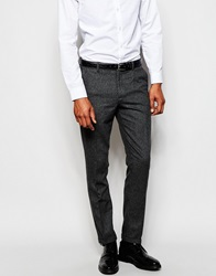 Selected Homme Wool Check Suit Trousers In Skinny Fit Charcoal