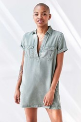 Bdg Washed Military Mini Shirt Dress Olive