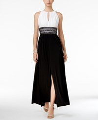 R And M Richards Petite Colorblocked Embellished Halter Gown Ivory Black