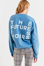 Urban Outfitters Future Is Yours Crew Neck Sweatshirt Blue
