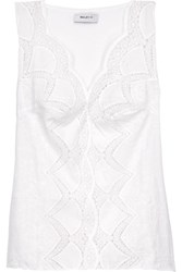 Bailey 44 Sunnyoroft Broderie Anglaise Cotton And Stretch Jersey Top White