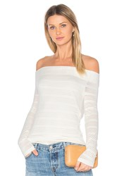 1.State Off Shoulder Stripe Tee White