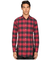 Mostly Heard Rarely Seen Zipper Shirt Red Plaid
