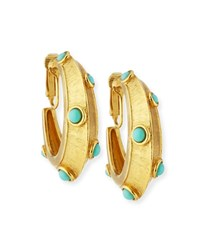 Jose And Maria Barrera Turquoise Clip On Hoop Earrings Yellow Blue