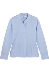 Madewell Cotton Peplum Shirt Sky Blue