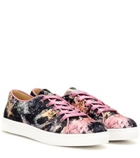 Charlotte Olympia Low Tops Crystal Embellished Velvet Sneakers Multicoloured