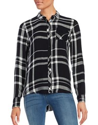 Calvin Klein Jeans Plaid Button Front Blouse Black