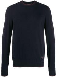 Emporio Armani Relaxed Fit Two Tone Jumper Blue